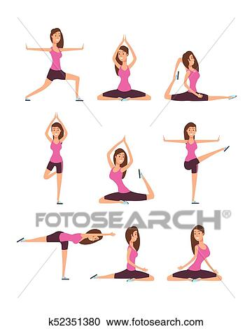 Young Woman Making Yoga Exercises And Meditation Fitness Girl In Training Asana Postures Vector Set Clipart K52351380 Fotosearch