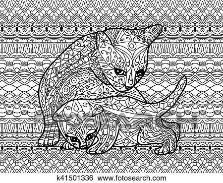 Zendoodle Ausmalbilder Für Adults Mutter Katz Mit