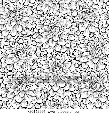 Clipart of beautiful seamless background with monochrome black and beautiful seamless background with monochrome black and white flowers hand drawn contour lines and strokes perfect for greeting cards and invitations of mightylinksfo