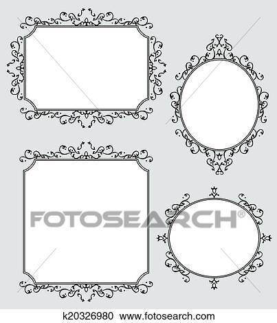 Clipart of Elegant Decorated Frames Illustration Set k20326980 ...