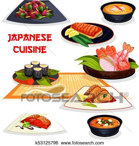 Clip Art Of Japanese Restaurant Lunch Dishes Asian Cuisine