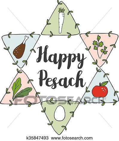 Clipart of jewish pesach passover greeting card with seder doodle clipart jewish pesach passover greeting card with seder doodle icons and jewish star vector m4hsunfo