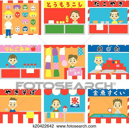 Clipart of Japanese stalls, stands, street foo k20422642 ...