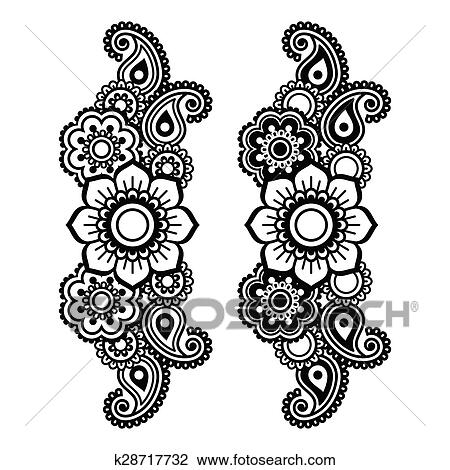 Clipart Of Mehndi Indian Henna Tattoo Pattern K28717732 Search