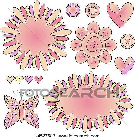 Klipart Pastel Boya çiçekler Kalplar Kelebek K4527583