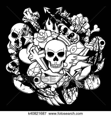 Clip Art Of Print With Retro Tattoo Symbols Cartoon Old School