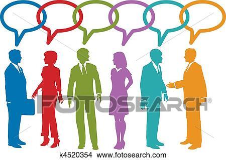clipart of social media business people talk speech bubble k4520354 rh fotosearch com