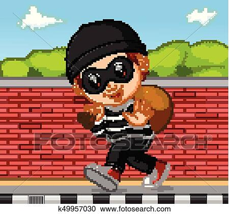 Thief cartoon carrying bag of money with a dollar sign Clipart