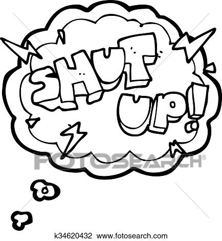 Clipart Of Thought Bubble Cartoon Shut Up Symbol K34620432