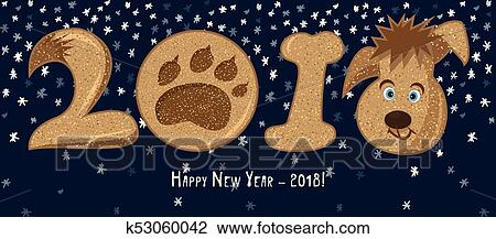 2018 cartoon character dog chinese zodiac sign cute icon on blue snow background good idea for poster happy new year greeting card