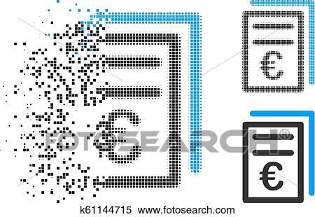 Dissolving Dot Halftone Euro Invoices Icon Clipart