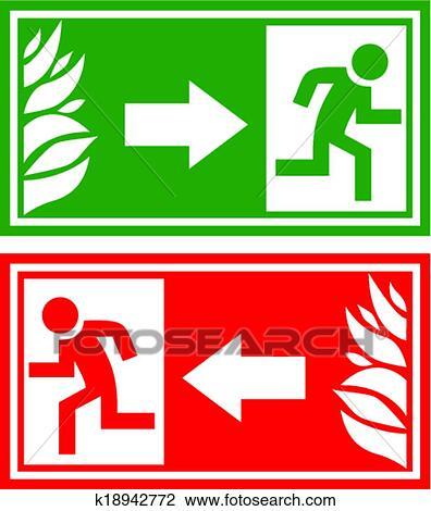 clipart of emergency exit sign k18942772 search clip art rh fotosearch com fire exit sign clip art emergency exit clipart sign