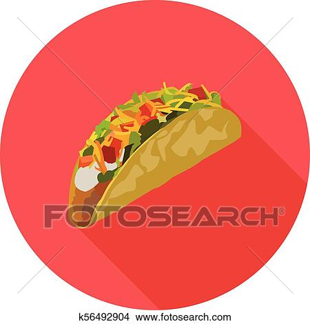 Flat Icon Of Mexican Tacos Clipart K56492904 Fotosearch