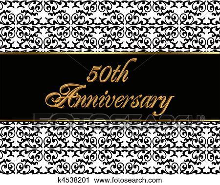 Goldene Hochzeit Einladung Karte Clip Art K4538201