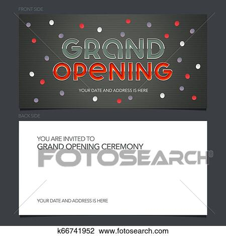 Grand Opening Vector Banner Invitation Card Template Festive Invite Clipart
