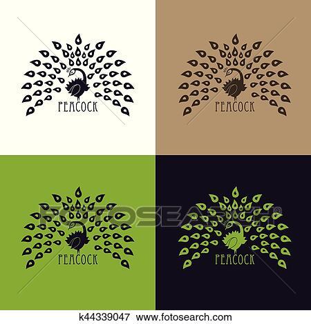 Ilustracao Pavao Logotipo Desenho Set Vetorial Abstratos