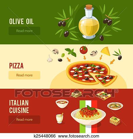 Clip Art Of Italian Food Banner Set K25448066