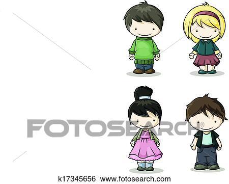 Clip Art - jungen mädchen, farbe k17345656 - Suche Clipart, Poster ...