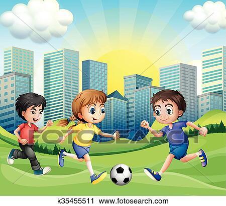 Clipart Ninos Jugar Futbol En El Parque K35455511 Buscar Clip