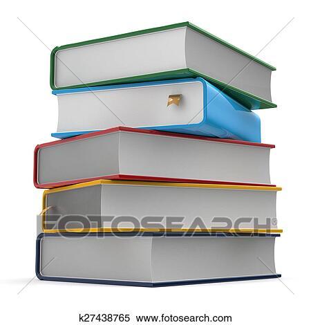 Pile Livres Couvertures Colore Cinq Different Gabarit Banque D Illustrations