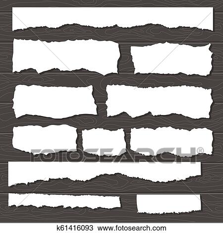 Scrap Paper On Wooden Background Torn Pieces Of White Sheet