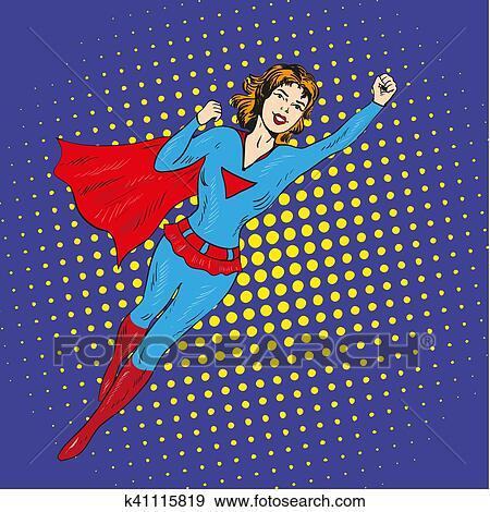 Download Super hero woman flying vector poster in comic retro pop ...