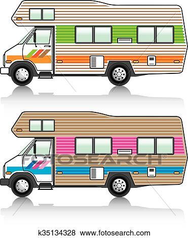 Camping Car Dessin clipart - vendange, camping car k35134328 - recherchez des cliparts
