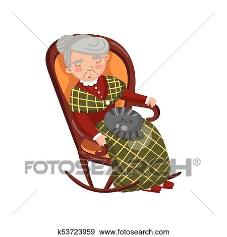 Clip Art Of Grandma Sleeping In Cozy Chair With Cat On Her Knees