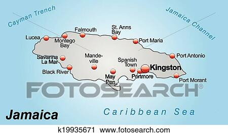 Clipart of Map of Jamaica k19935671 - Search Clip Art, Illustration ...