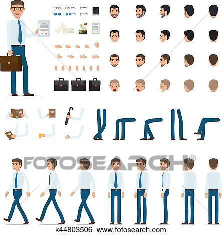 Clipart Personne Création Ensemble Dans Simple Dessin Animé