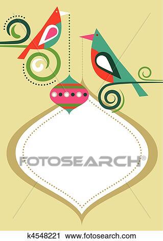 Clipart Weihnachten Vögel Rahmen K4548221 Suche Clip Art