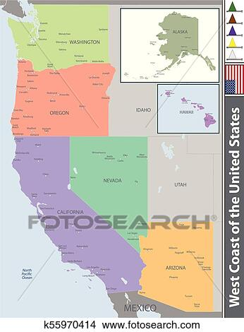 West Coast Of The United States Clipart K55970414 Fotosearch