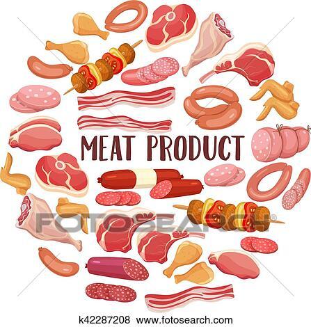 منتجات اللحم إلى داخل رسم كاريكتوري Style Clip Art K42287208 Fotosearch
