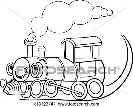 clip art of cartoon locomotive or engine coloring page k18123747 rh fotosearch com locomotive clip art - scale locomotive clipart free