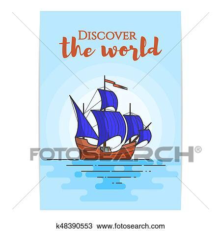 Couleur Bateau A Bleu Voiles Dans Les Sea Voilier Sur Vagues Pour Voyage Tourisme Agence Voyage Hotels Vacances Carte Banniere Clipart K48390553 Fotosearch