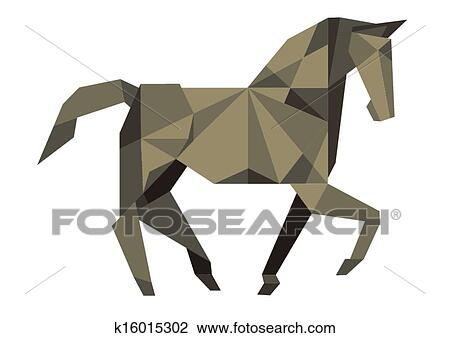 Clipart Of Cubist Horse K16015302