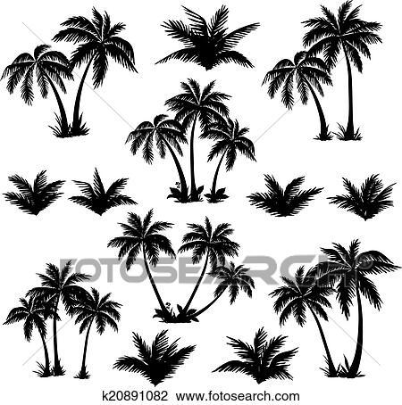 Clipart exotique palmiers ensemble silhouettes - Palmier dessin ...