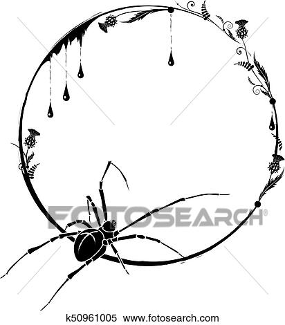Clipart Of Frame With Spider And Thistle K50961005