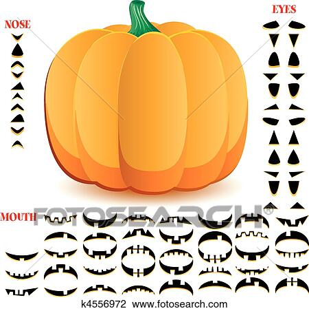 clipart of halloween pumpkin with big set of mouths eyes and noses