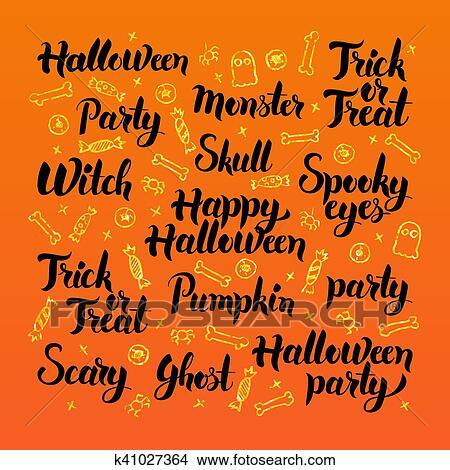 Happy Halloween Lettering Design Clipart K41027364 Fotosearch