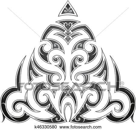 5153b8225 Clipart - Maori style tribal art tattoo. Fotosearch - Search Clip Art,  Illustration Murals