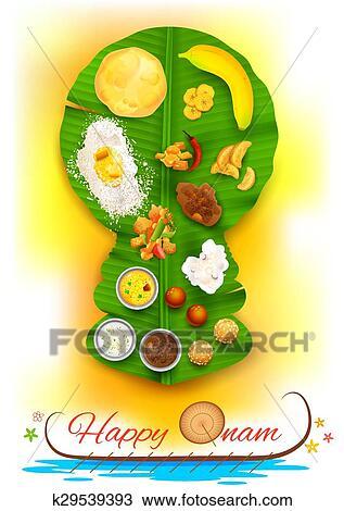 Clipart Of Onam Feast On Banana Leaf K29539393