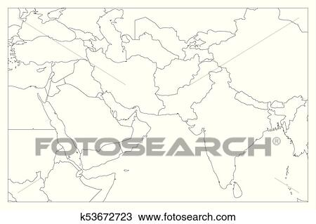 Outline Map Of Asia Political.Political Map Of South Asia And Middle East Countries Simple Flat Vector Outline Map Clipart