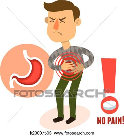 Sick Character Stomach Ache Clipart K23007503 Fotosearch