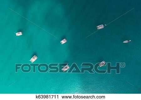 Spectacular Aerial View Of Some Yachts And Small Boats