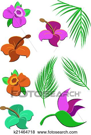clip art of tropical flowers and leaves k21464718 search clipart rh fotosearch com tropical flower clipart tropical flower clipart