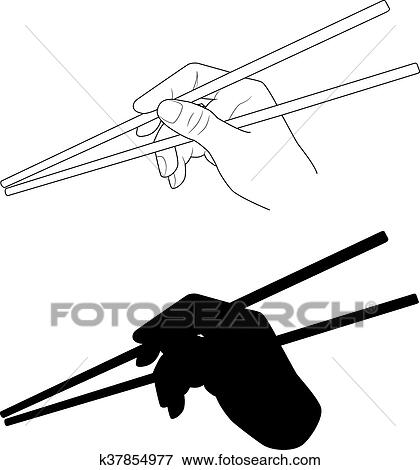 clip art of vector a hand holding chopsticks oriental cuisine Brazilian Food isolated illustration of japanese korean chinese chopsticks for noodles sushi rice and other eastern food chopsticks silhouette