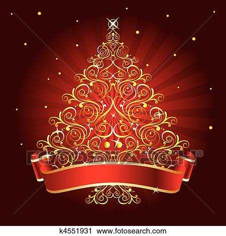 weihnachtsbaum rot clipart k4551931 fotosearch. Black Bedroom Furniture Sets. Home Design Ideas