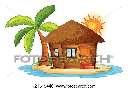 Clipart Of A Small Nipa Hut In The Island K21515440 Search Clip