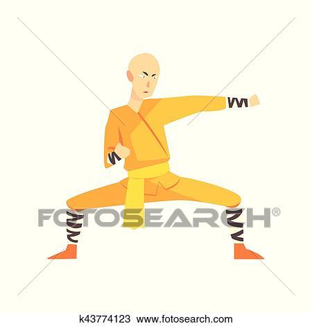 Arrojado Asiatico Shaolin Monge Kung Fu Artes Marciais